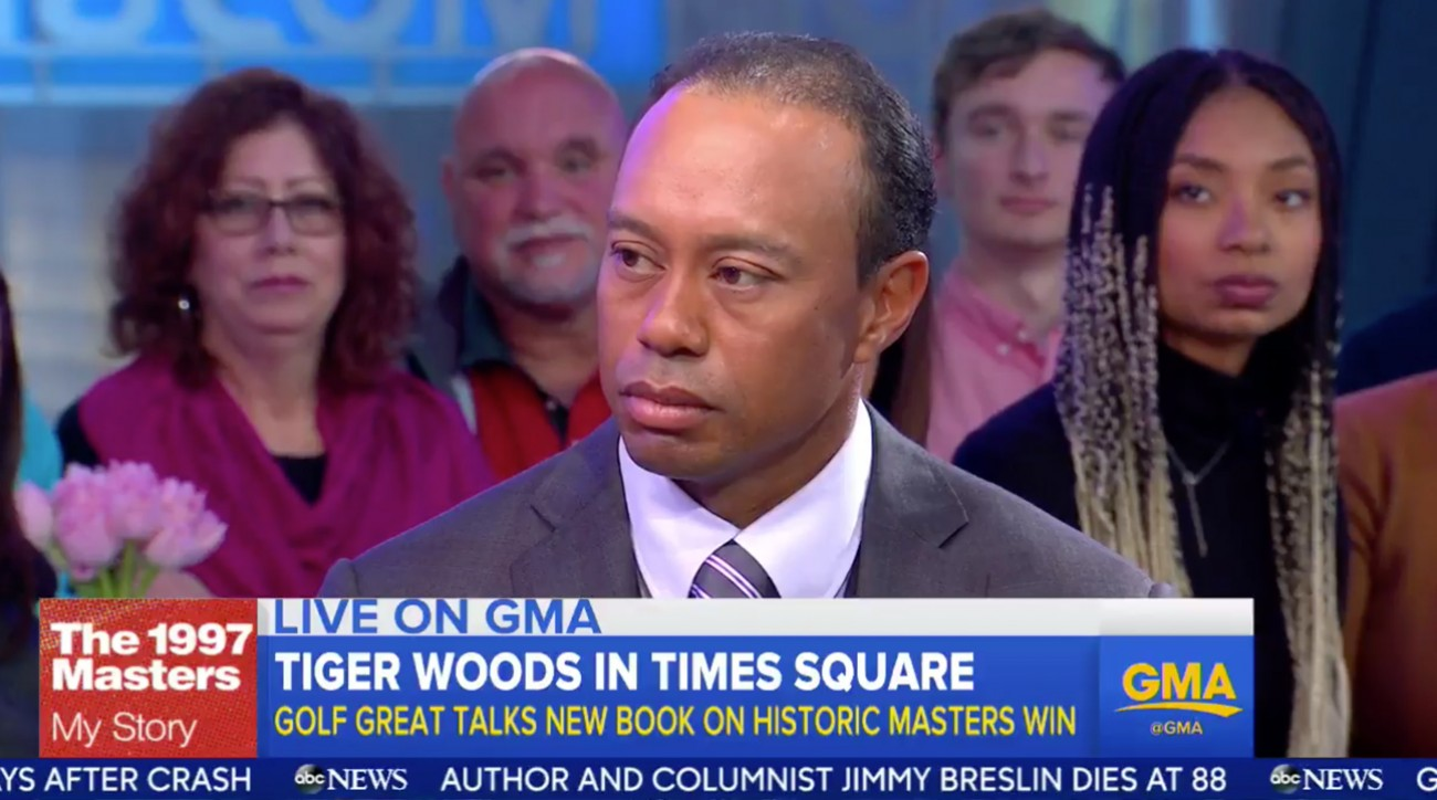 Tiger Woods visited Good Morning America Monday touting his new book on his 1997 Masters victory.