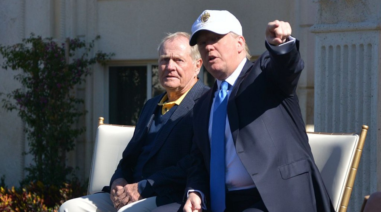 Jack Nicklaus and Donald Trump at the unveiling of the Jack Nicklaus Villa at Trump Doral.