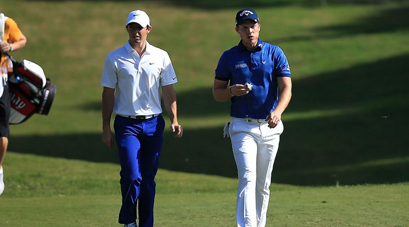 Rory McIlroy and Danny Willett chat during the second round of the 2015 Turkish Airlines Open.