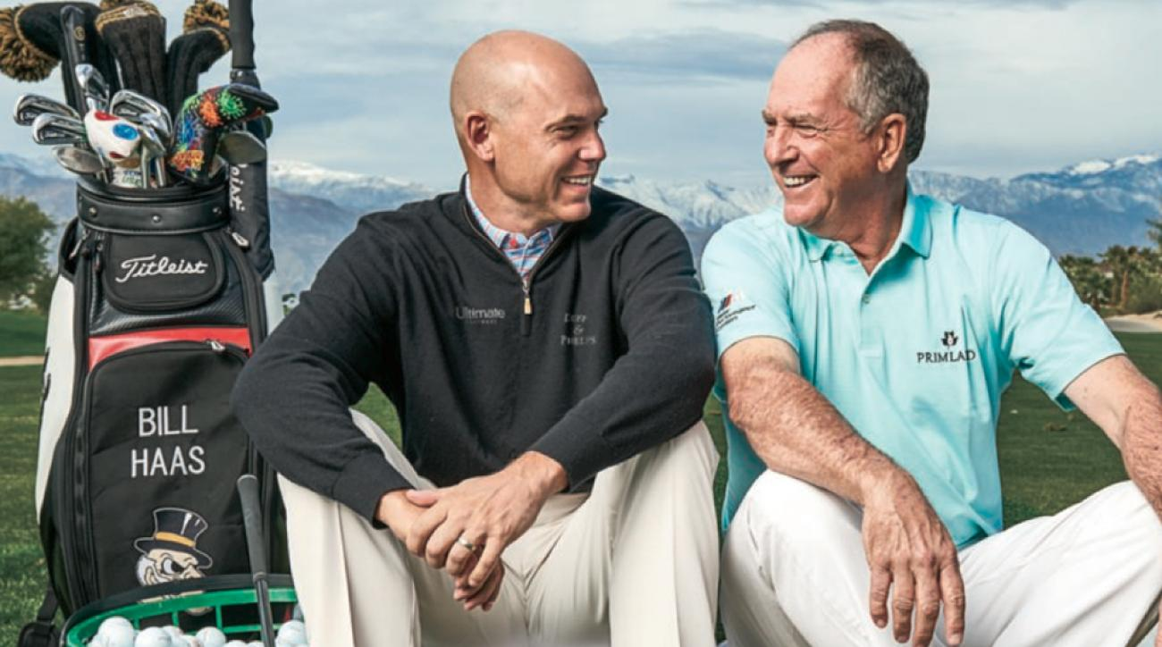 """Bill Haas (left) covets his dad's longevity, while Jay would love to have his son's length. """"Bill hits his 3-wood over bunkers I can't reach."""""""