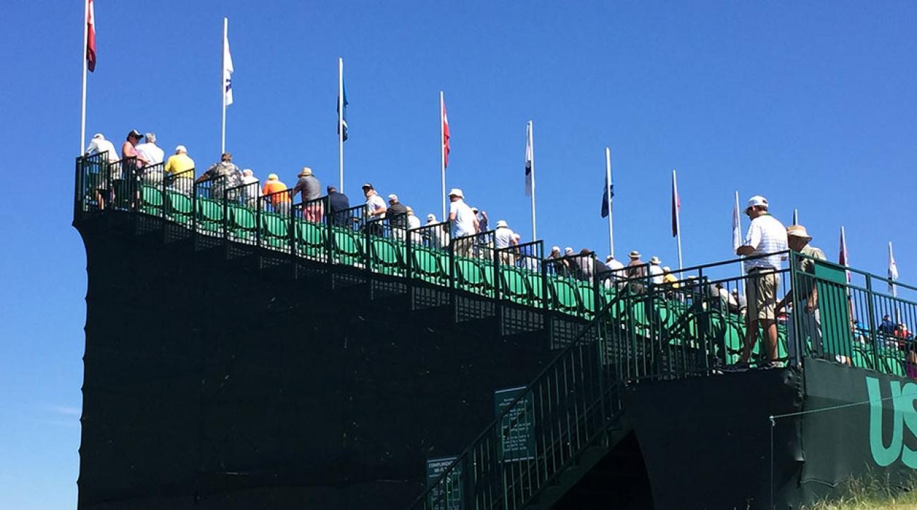 Fans can see parts of four holes from the grandstand on 17.