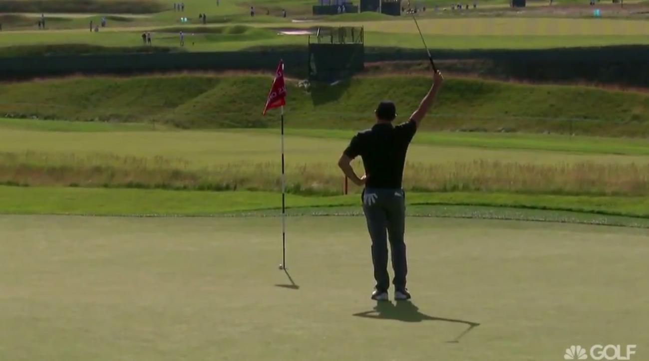 Rory McIlroy accidentally holes 80-foot putt during U.S. Open practice round.