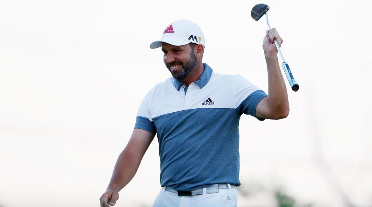 Sergio Garcia celebrates his big par save on the last hole of the second round.