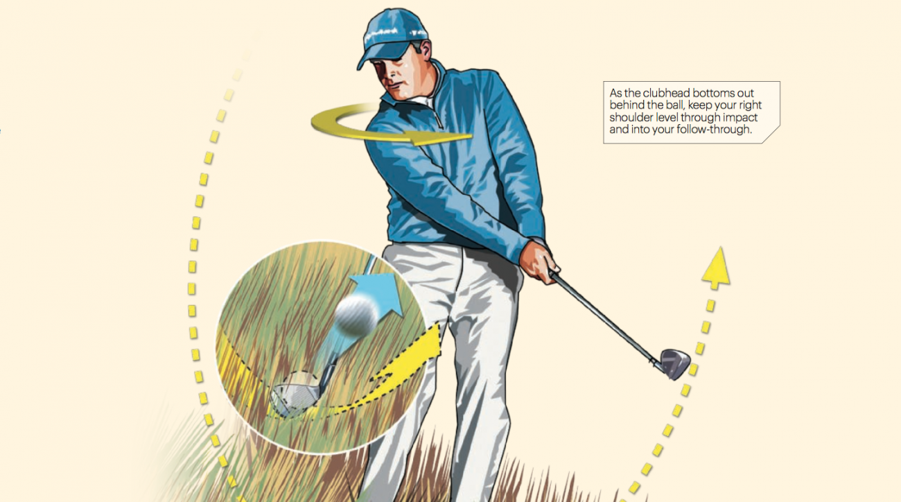 As the clubhead bottoms out behind the ball, keep your right shoulder level through impact and into your follow-through.