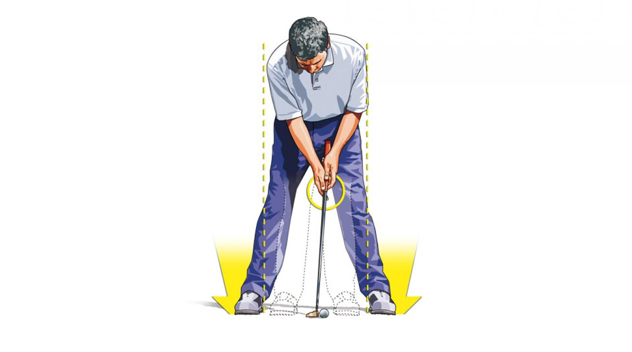 To fight the wind's destabilizing effects while putting, batten down the hatches: Widen your stance and choke down on your putter.