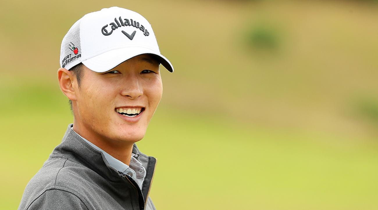 Danny Lee looks on during a pro-am round ahead of the 2016 AAM Scottish Open at Castle Stuart Golf Links.