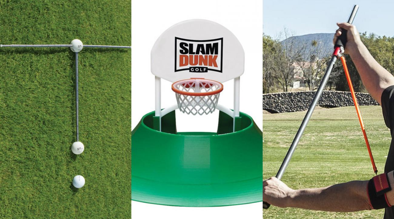 A look at the three featured golf training aids.