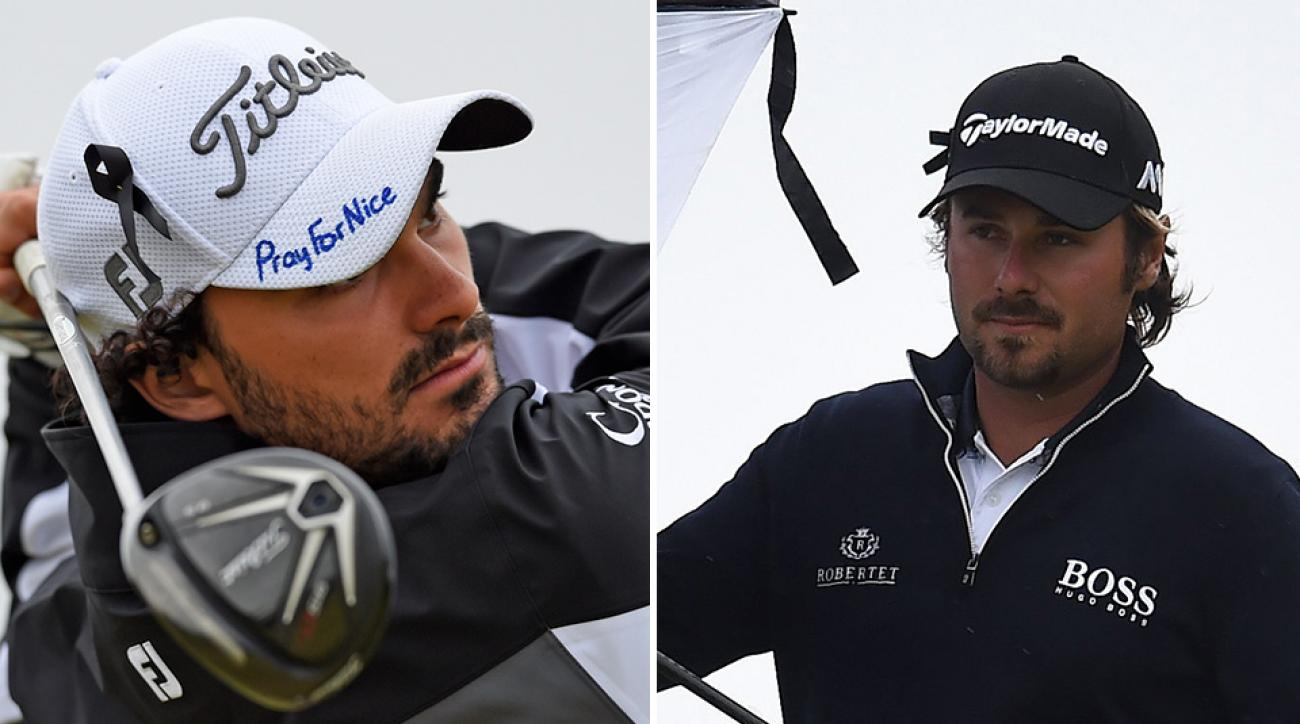 Clement Sordet of Nice, France and Victor Dubuisson of Cannes, France show their support for victims of the Nice attacks.