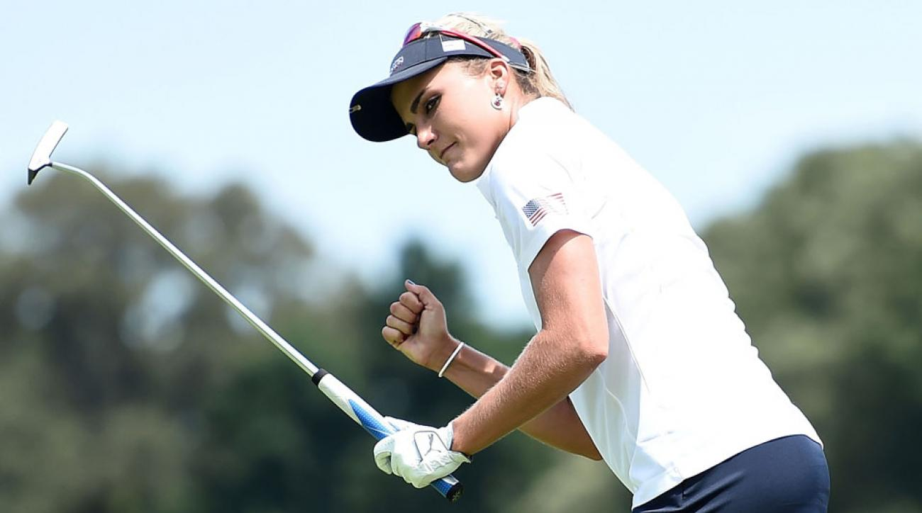 Lexi Thompson (pictured) and Cristie Kerr scored the first points for Team USA on Friday.