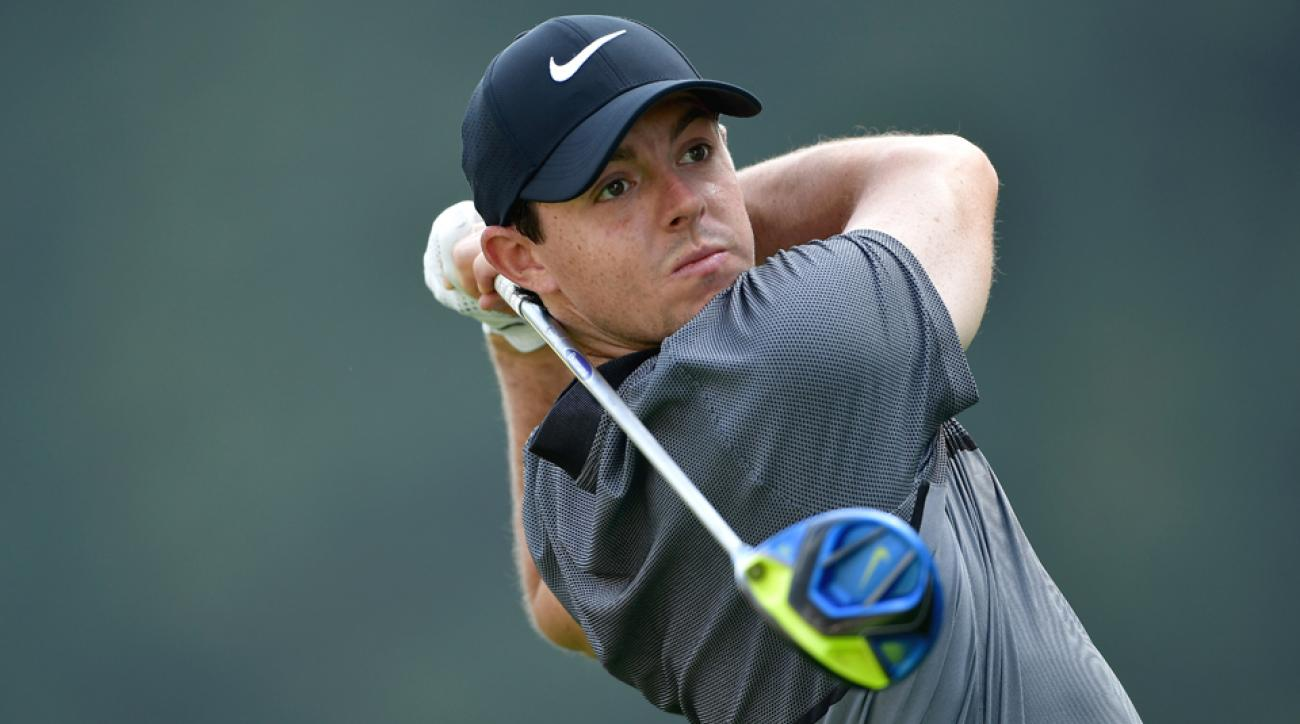 Rory McIlroy and other Tour stars tee off in the long drive competition at the PGA Championship on Tuesday.