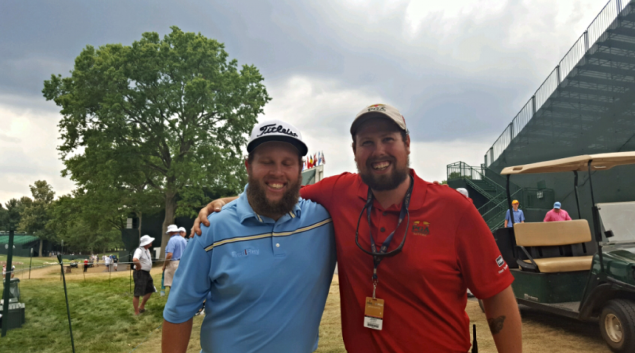 Andrew Johnston and his new similarly looking friend Jerry Elliot are both hard at work this week at Baltusrol Golf Club.