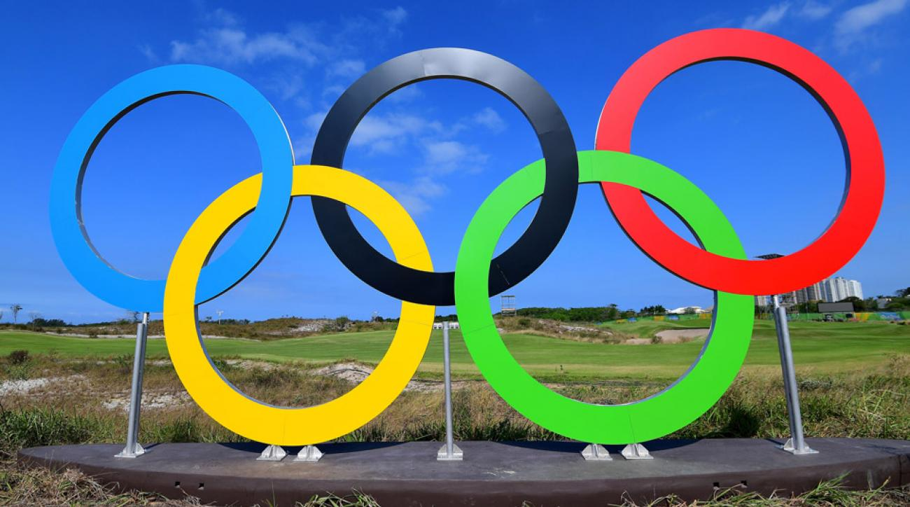 The iconic logo for the Olympics in front of the golf course in Rio.