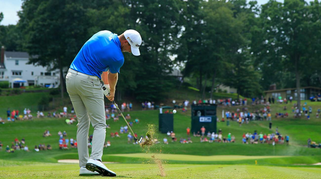 Daniel Berger of the United States plays his shot from the 16th tee during the third round of the Travelers Championship at TCP River Highlands on August 6, 2016 in Cromwell, Connecticut.