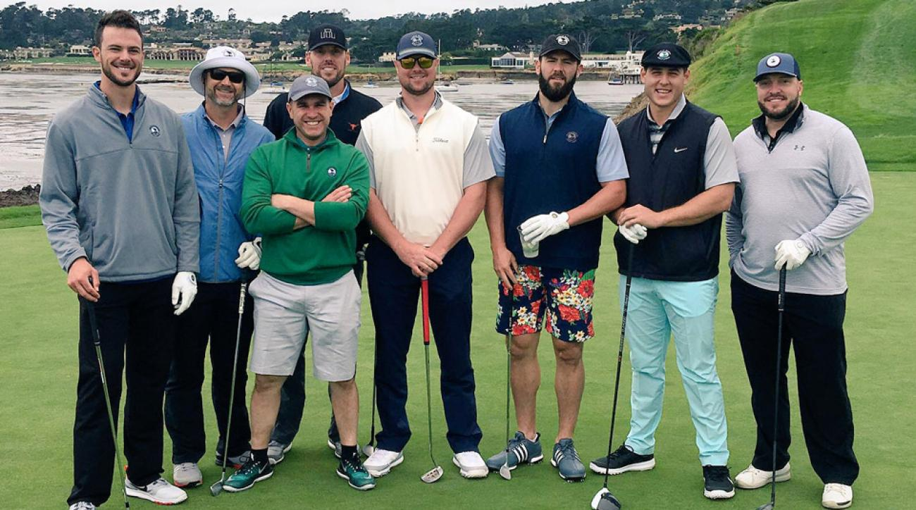 Members of the Chicago Cubs at Pebble Beach.