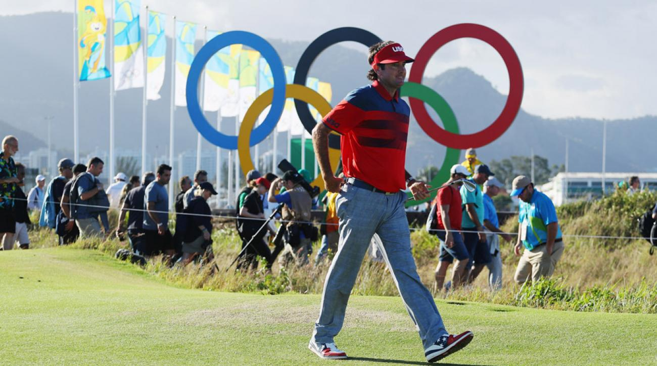 Bubba Watson walks the course during the second round of the 2016 Olympic Golf tournament in Rio.