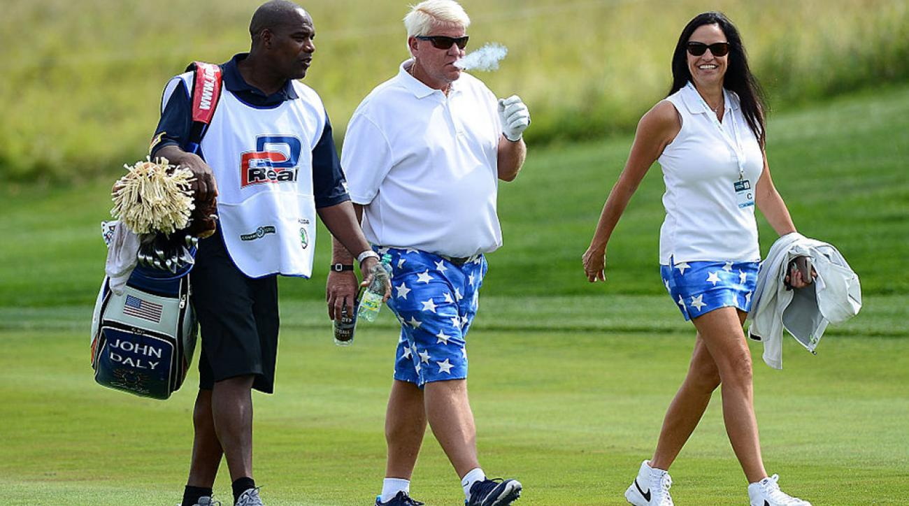 John Daly walks down the fairway during a pro-am ahead of the Czech Masters in Prague.