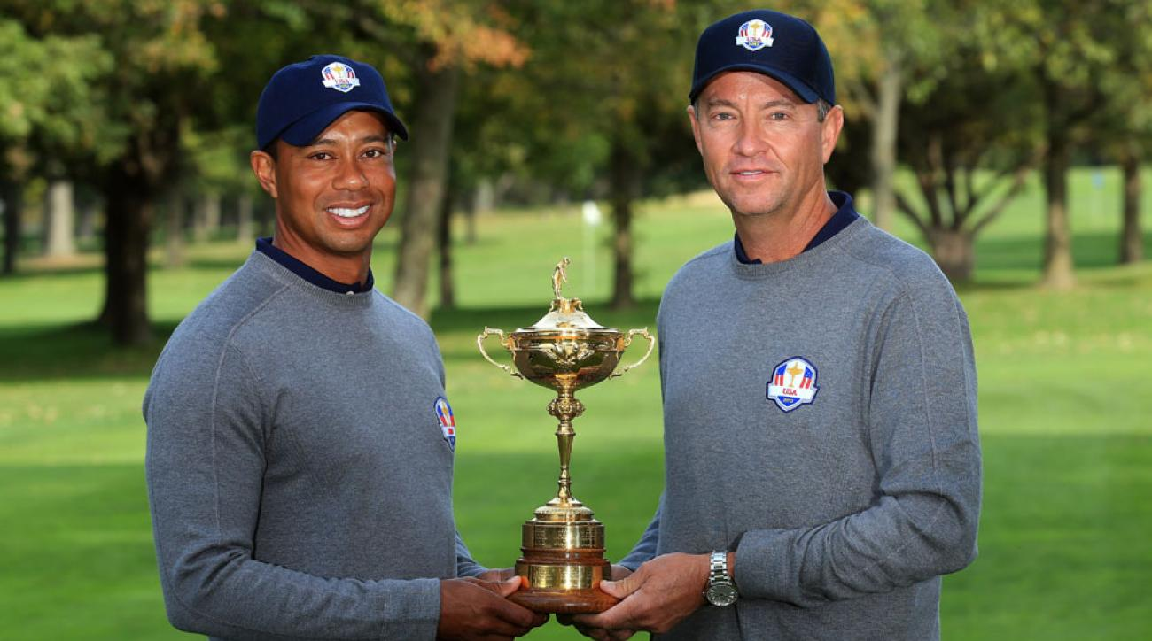 Tiger Woods will serve as one of Davis Love III's four vice captains in the 2016 Ryder Cup at Hazeltine.