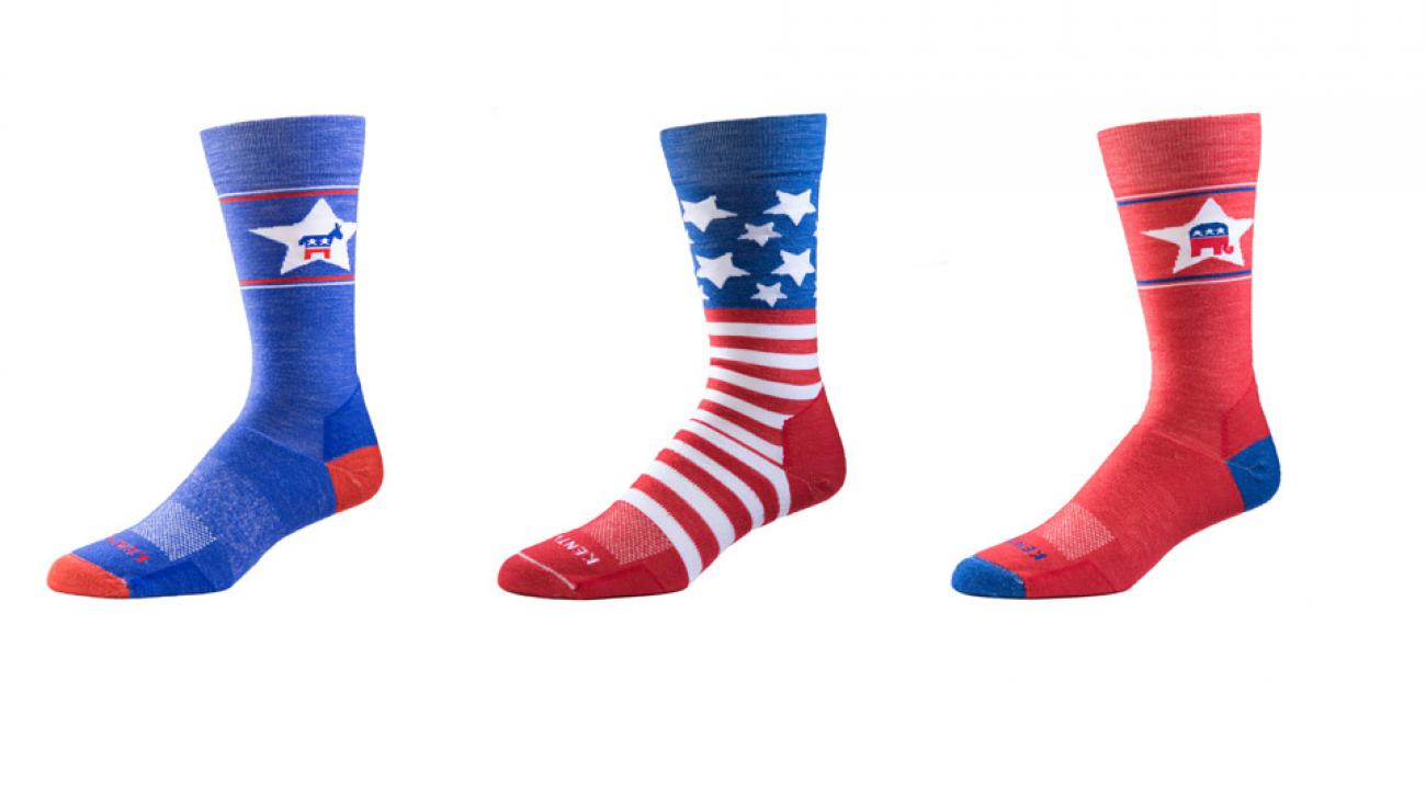 Kentwool is offering socks with a donkey logo for Democrats, socks with an elephant logo for Republicans, and American-flag socks for everyone.
