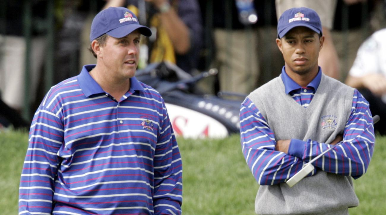 At the 2016 Ryder Cup, Phil Mickelson will be playing and Tiger Woods will act as an assistant captain.