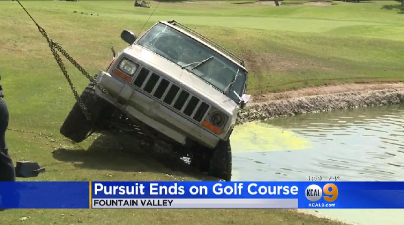 Two retired police officers who were playing golf nearby witnessed a car chase on the course.
