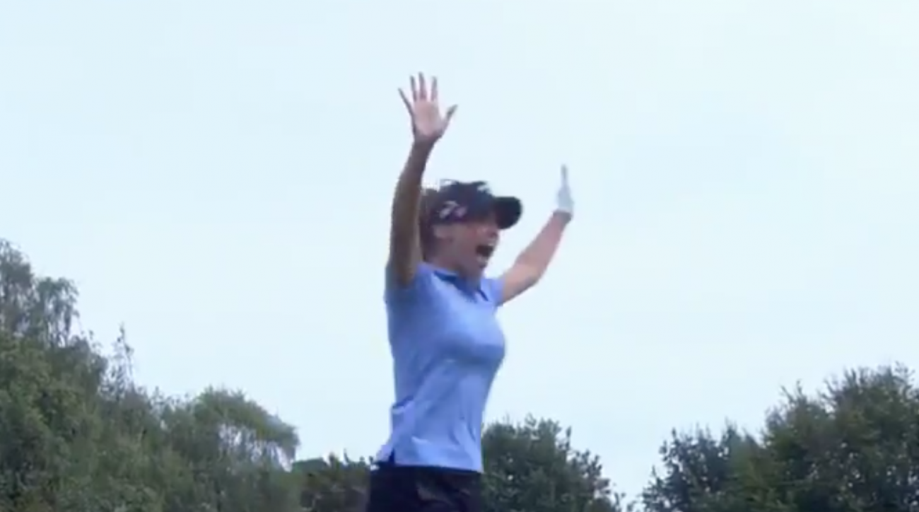 Belen Mozo reacts to her hole-in-one at the Ladies European Masters.