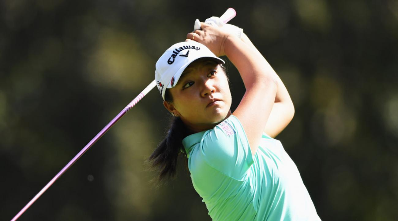 Lydia Ko of New Zealand plays a shot during practice prior to the start of the Evian Championship Golf on September 14, 2016.