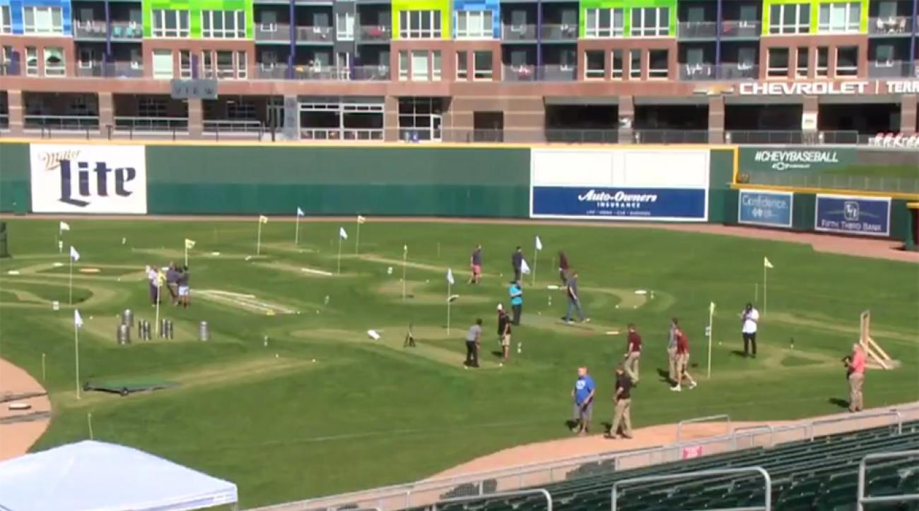 Cooley Law School Stadium, home of the Lansing Lugnuts, has been transformed into an 18-hole mini golf course for one week only.