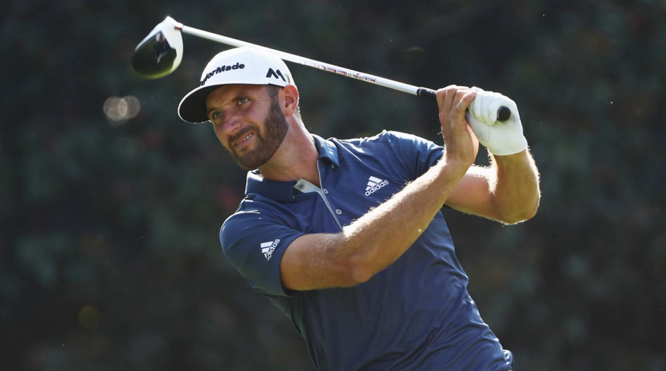 Dustin Johnson watches a drive during the 2016 Tour Championship.
