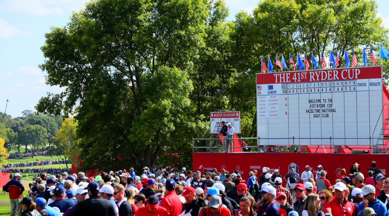 The scene at the 2016 Ryder Cup at Hazeltine National Golf Club.