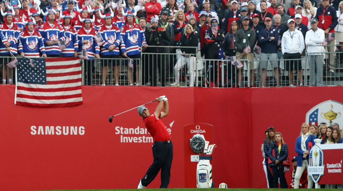 Tucked behind the swinging Patrick Reed is the bag of Arnold Palmer.