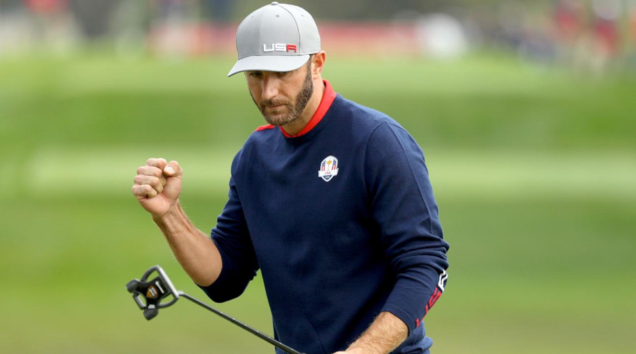 Dustin Johnson and the Americans grabbed a lead after Friday morning foursomes.
