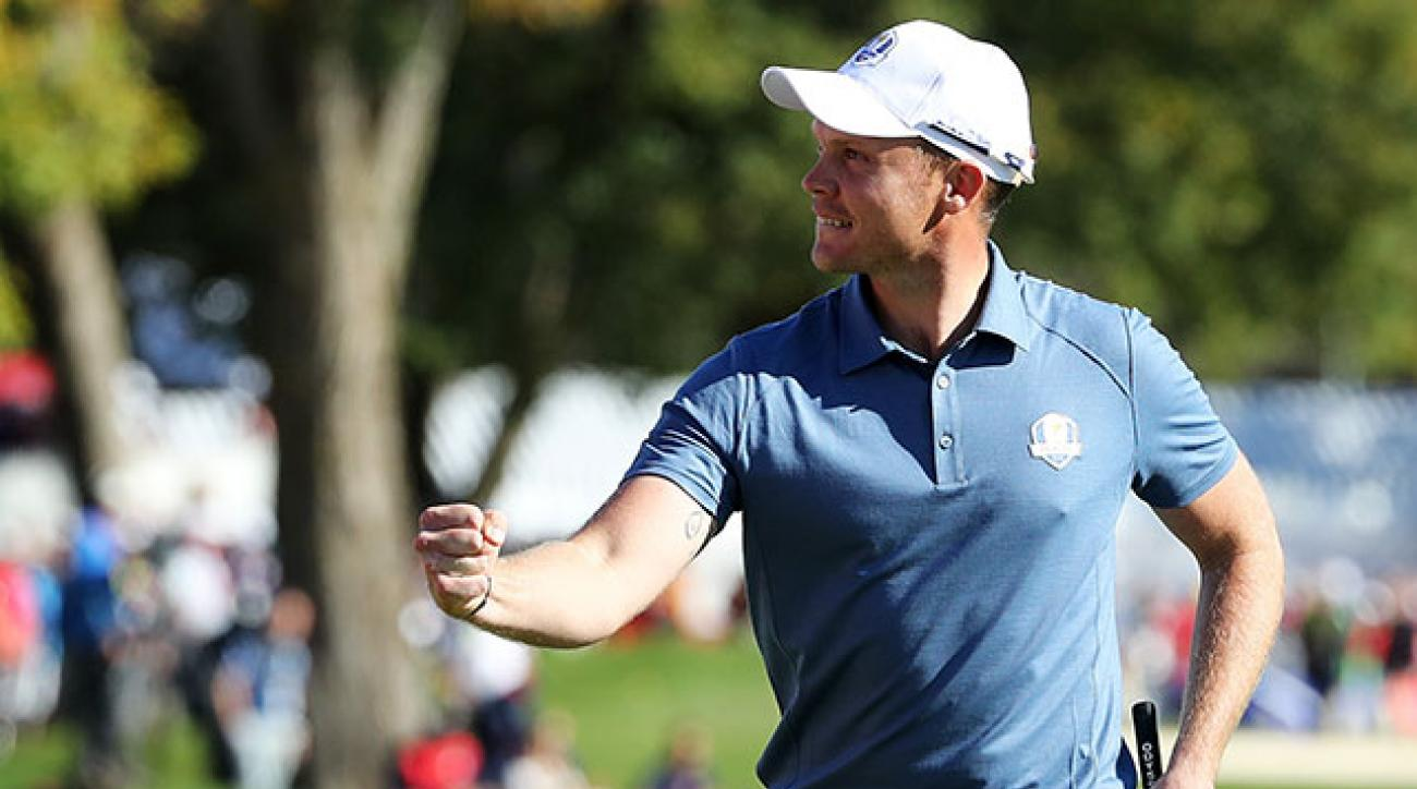 Danny Willett of Europe reacts after a birdie on the ninth green during afternoon fourball matches of the 2016 Ryder Cup at Hazeltine National Golf Club on September 30, 2016 in Chaska, Minnesota.