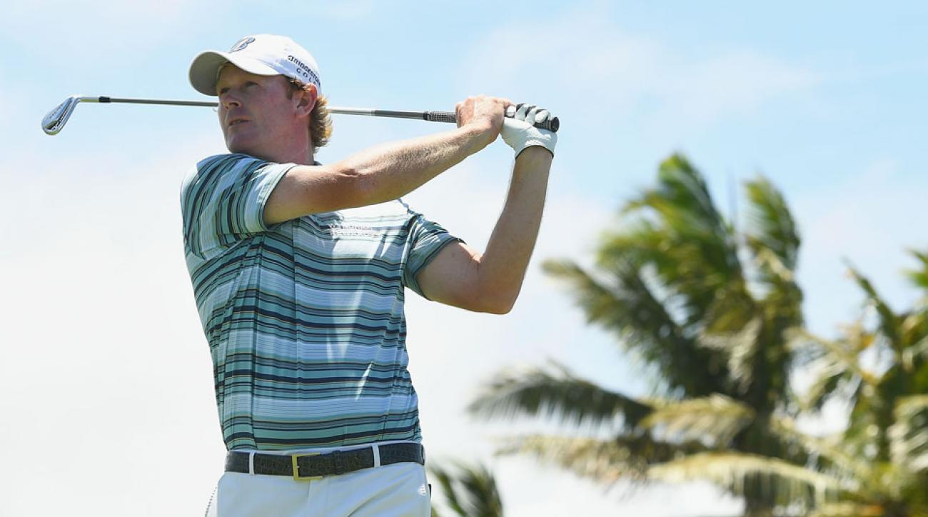 Brandt Snedeker plays an approach shot during the Fiji International at Natadola Bay Golf Course on Oct. 8, 2016, in Natadola, Fiji.