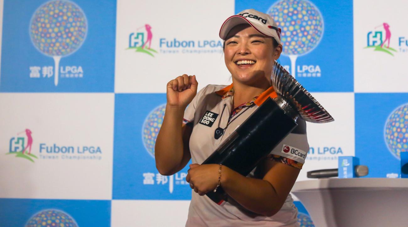 Ha Na Jang celebrates after winning the Fubon Taiwan LPGA Championship.