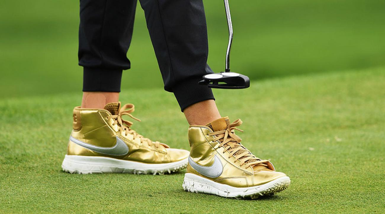 Michelle Wie sports some impressive footwear at the Evian Championship in September 2016.