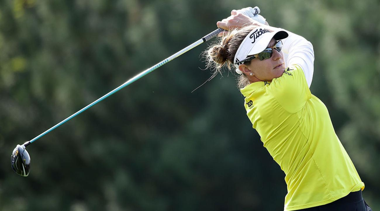 Brittany Lang of United States plays a tee shot on the 2nd hole during the first round of the LPGA KEB-Hana Bank Championship at the Sky 72 Golf Club Ocean Course on October 13, 2016 in Incheon, South Korea.