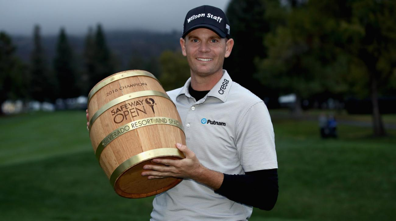 Brendan Steele poses for pictures after winning the 2016 Safeway Open.