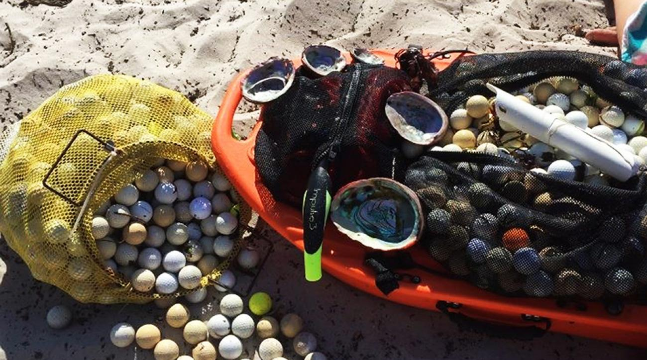 Two students say they have retrieved over 5,000 golf balls in six months from just one cove below the Pebble Beach Golf Links in Carmel, California.