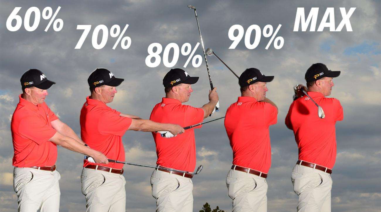 Finish your wedge swing at each of these spots for the correlating amount of power.