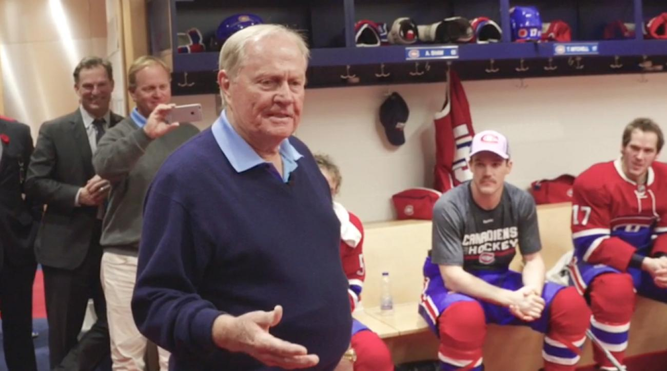 Jack Nicklaus speaks to the Montreal Canadiens before their game on Tuesday.