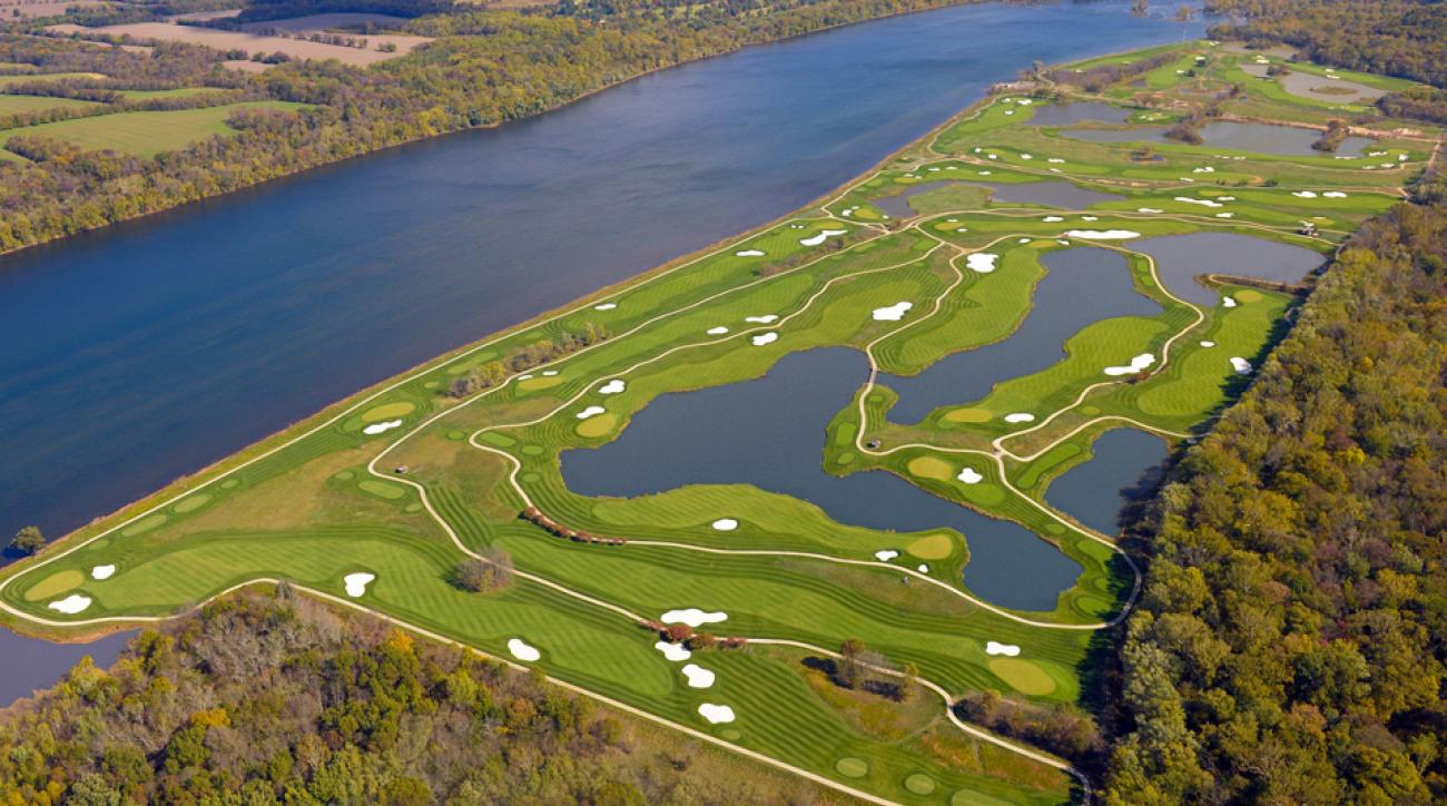 An aerial view of Trump National Golf Club in Washington, D.C.