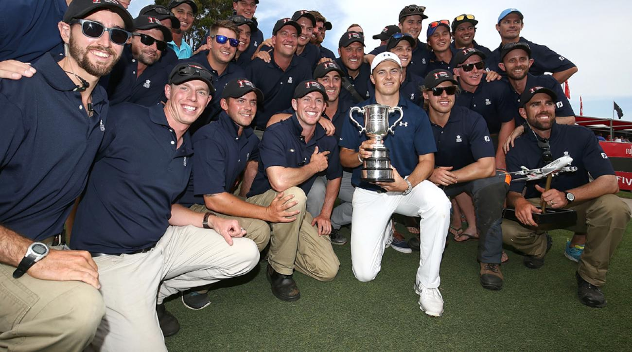 Jordan Spieth poses with grounds crew staff after winning the Australian Open on Sunday. Is his victory a sign of big things to come in 2017 for the two-time major winner?