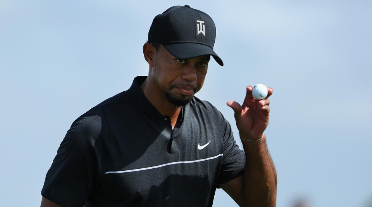 Tiger Woods's first nine holes in his return to competitive golf came with four birdies and one bogey.