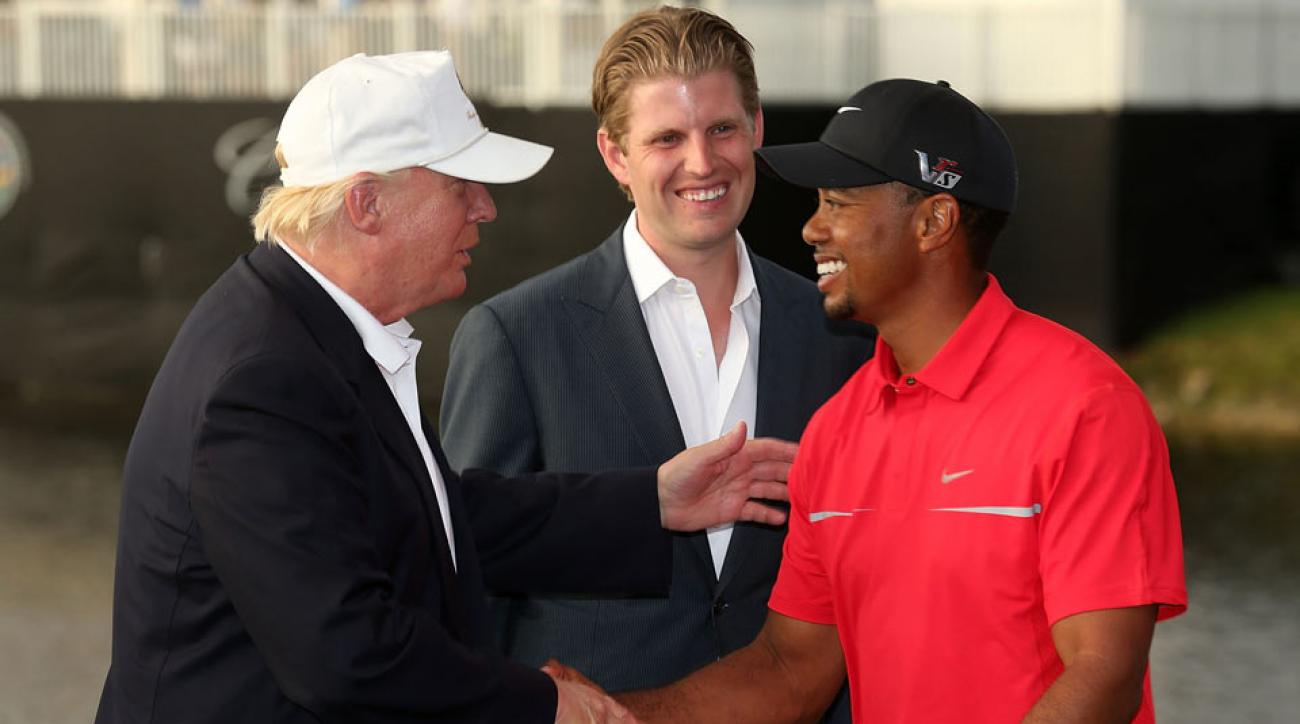Donald Trump greets Tiger Woods after the 2013 WGC-Cadillac Championship at Trump Doral.