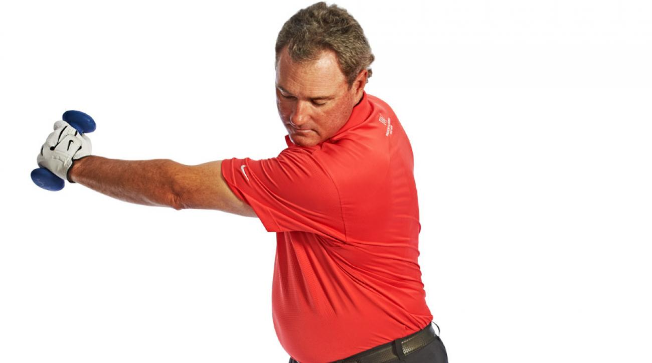 Swing the weight to here, then make the same swing with a club.