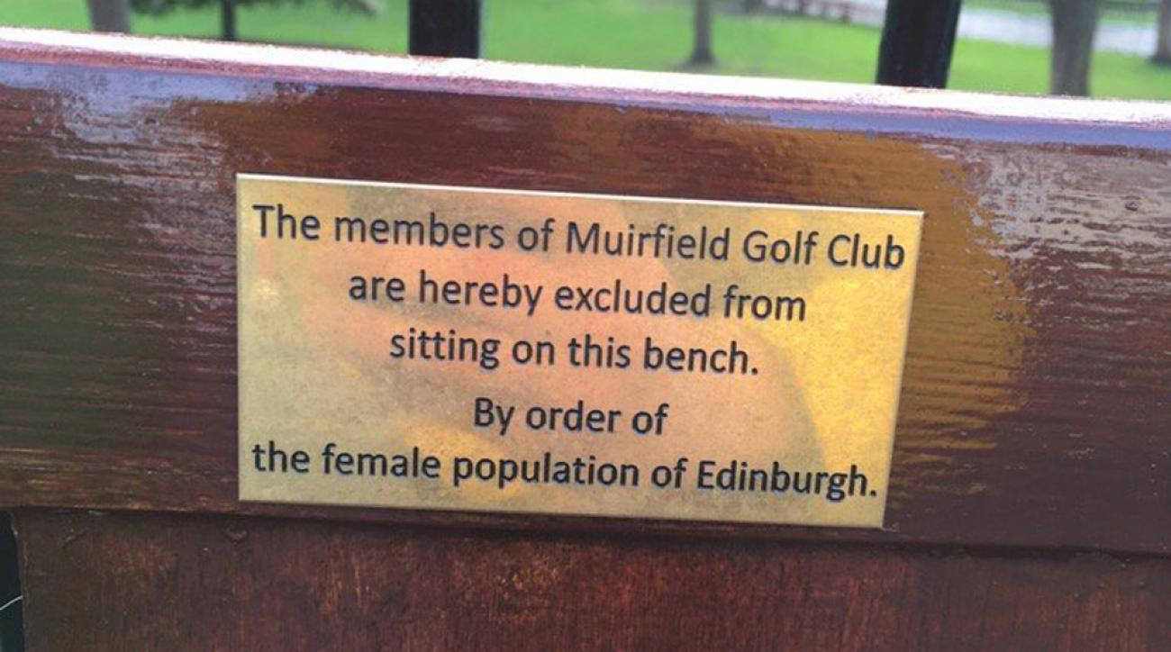 The park bench is located near Edinburgh's West Princes Street Gardens.