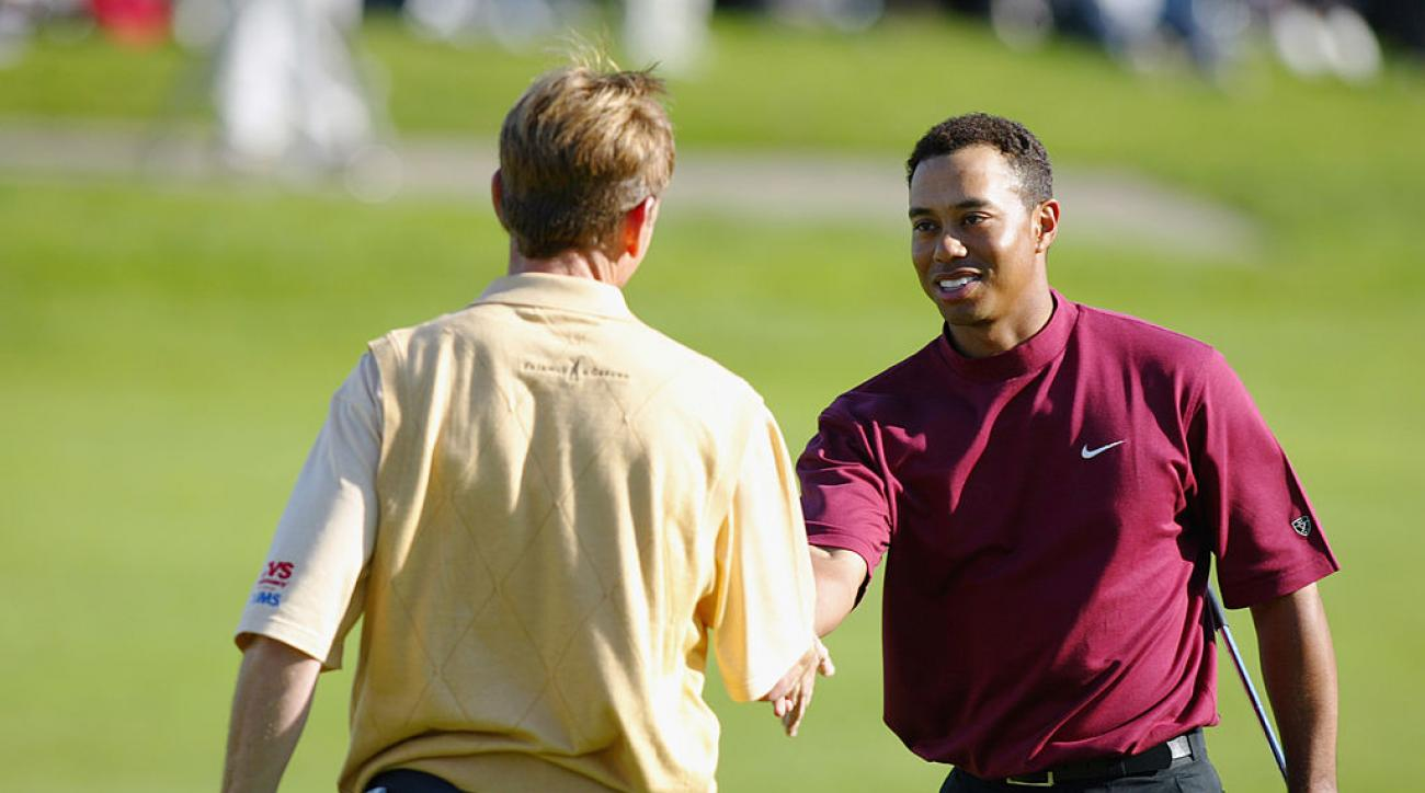 Tiger Woods sports the mock neck at Torrey Pines in 2003.