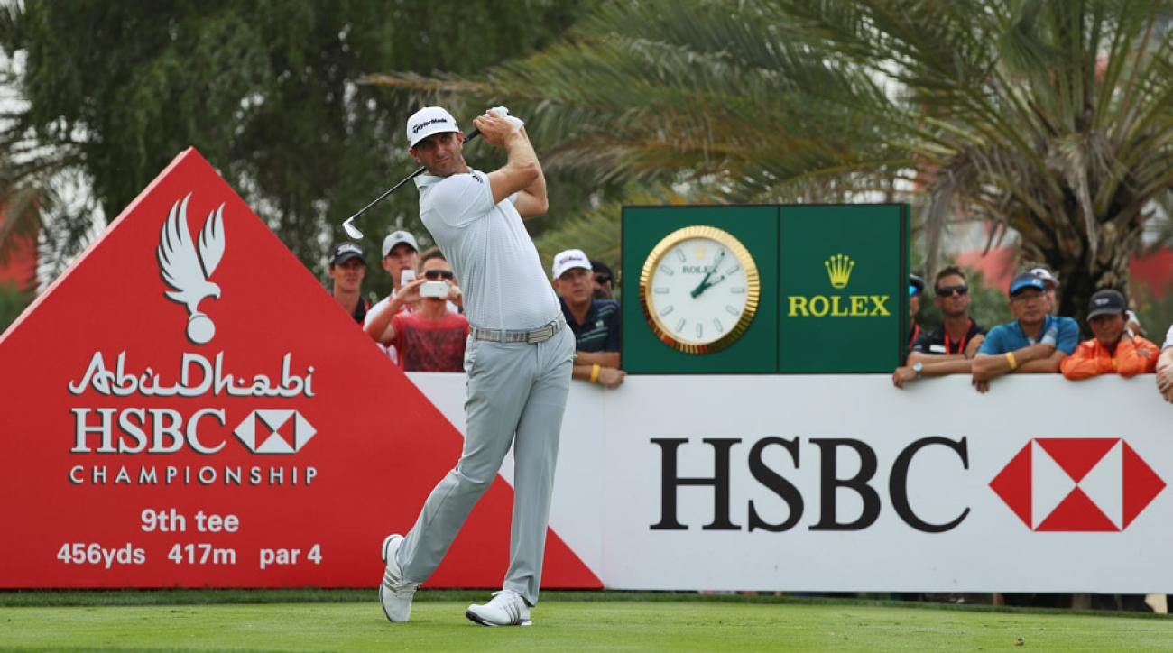 Dustin Johnson during the final round of the Abu Dhabi HSBC Championship.