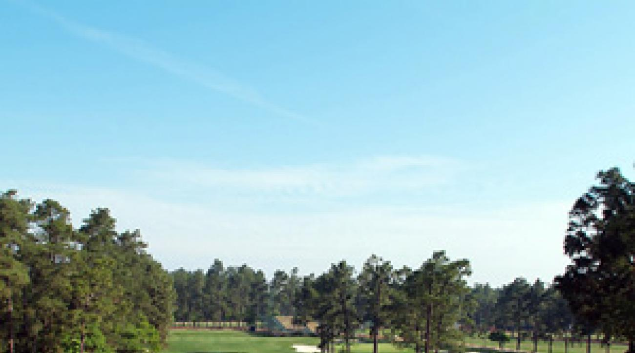 The long par-3 17th hole at No. 2, where a birdie helped Payne Stewart secure the U.S. Open in 1999.