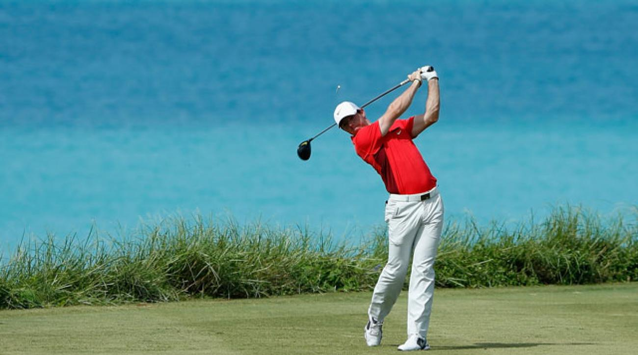 Rory McIlroy teeing off at the PGA Grand Slam of Golf in Bermuda on October 14th.